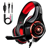 Auriculares Gaming Premium Stereo con Microfono para PS4 PC Xbox One (Rojo)