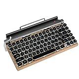 Teclado retro mecánico de madera, teclado inalámbrico de 83 teclas, tableta...