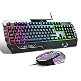 Combo de Teclado y Mouse USB RGB Gaming, Juego de Teclado y Mouse retroiluminado...