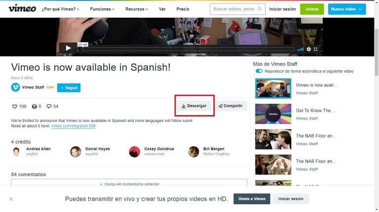 Descargar video de Vimeo