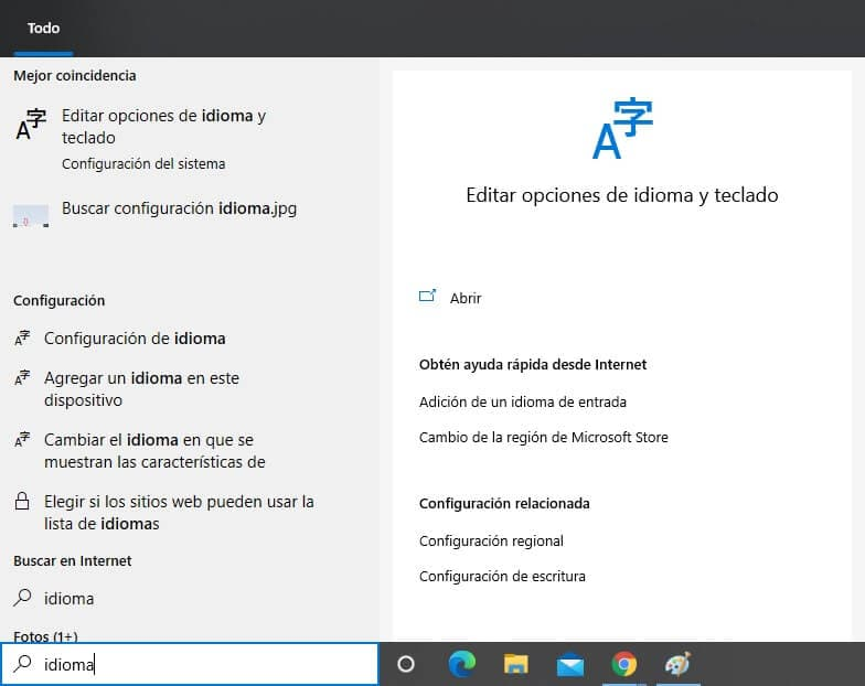Editar opciones de idioma y teclado