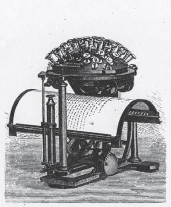 Maquina de escribir modelo de Malling-Hansen